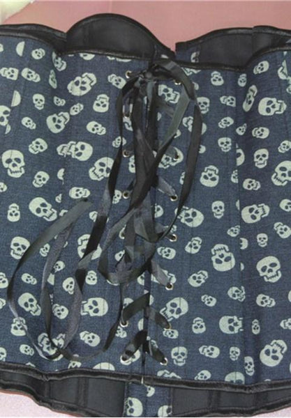 Denim Skull Pattern Steel Hook Corset.