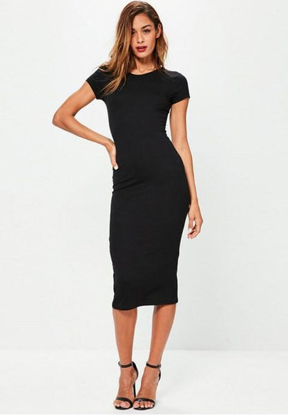 Women's Fashion Sexy Solid Short Sleeve Slim Bodycon Dres - Fashion Under Arrest