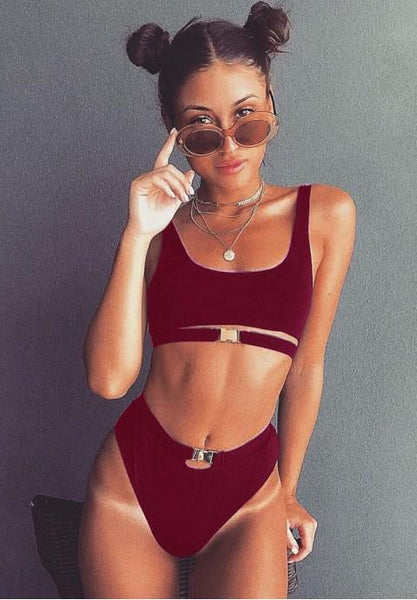 Solid Color Front Buckle Bikini Set