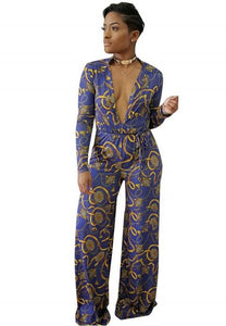 Women's Fashion Deep V-neck Print Long Sleeves Jumpsuit