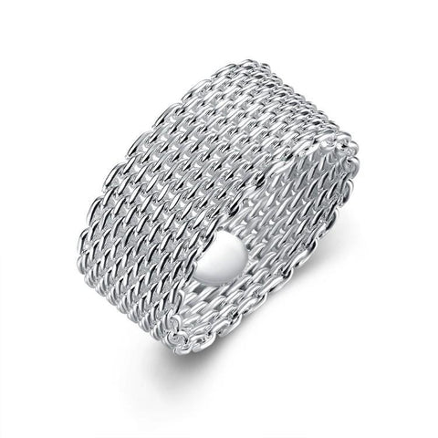Sterling Silver Plated Woven Mesh Ring - Fashion Under Arrest