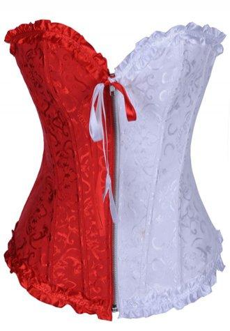 Red and White Jacquard Tapestry Corset Bustier.
