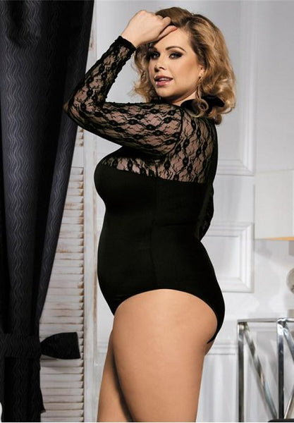 Plus Size Black Obstructed Teddy With Long Sleeve - Fashion Under Arrest