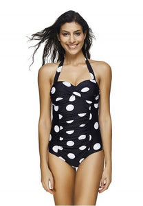 Women's One Piece Dots Printed Halter Neck Swimwear