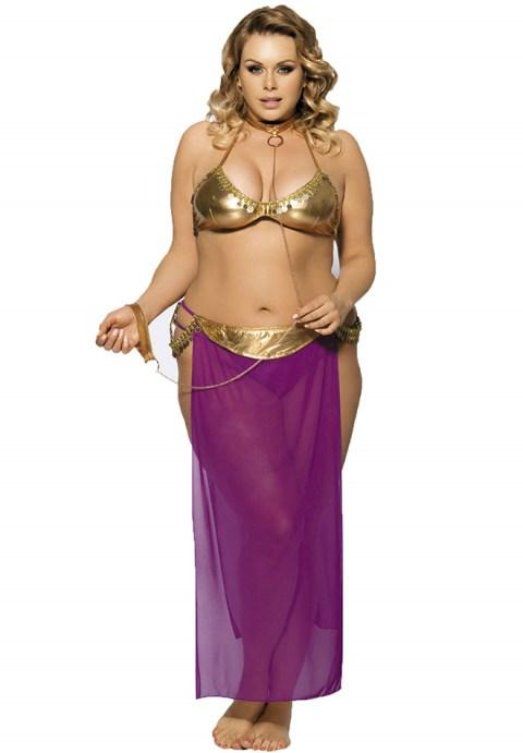 Plus Size Golden Tops And Purple Dress Lingerie With Neck Ring.