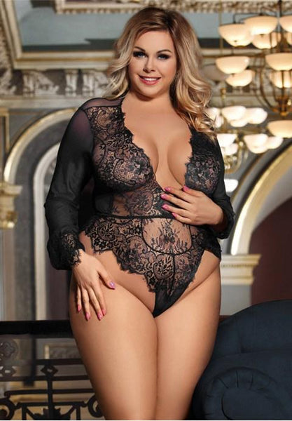 Plus Size Exquisite Lace Long Sleeve Teddy - Fashion Under Arrest