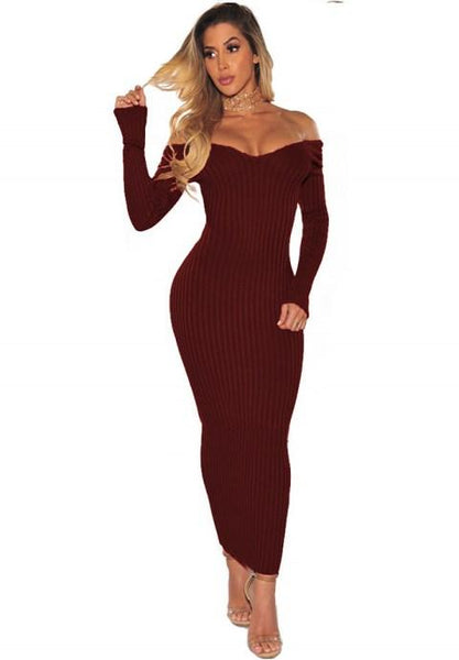 Sexy Off The Shoulder Long Sleeves Bodycon Dress.