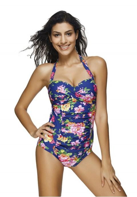 Women's One Piece Floral Printed Halter Neck Swimwear.