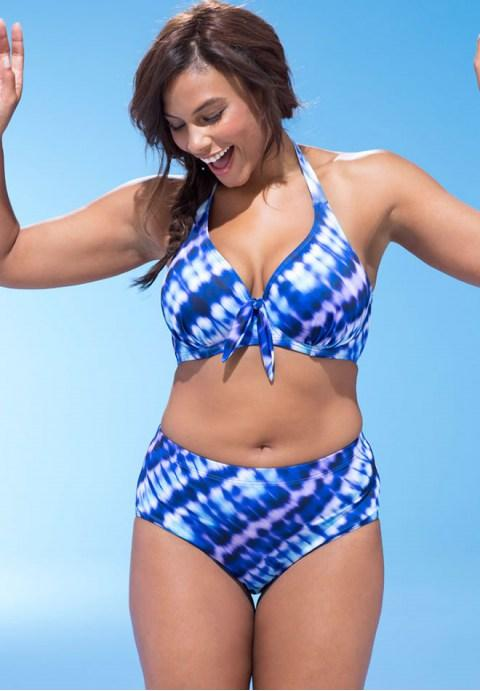 Plus Size Gradient Color Halter Underwire High Waist Bikini Swimsuit.