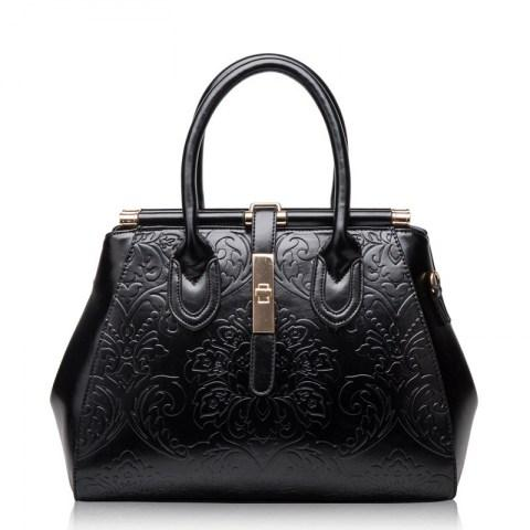 Genuine Leather Fashion Vintage Floral Embossed Handbag Tote Bags - Fashion Under Arrest