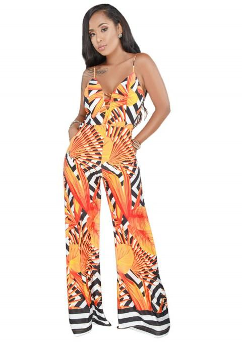 One Piece Sexy Sling Printing Wide-leg Jumpsuit Rompers.