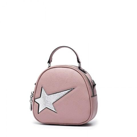 Women's PU Leather Star Decoration Shoulder Bag Tote Handbag.