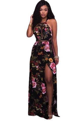 Printed Open Back Maxi Dress - Fashion Under Arrest