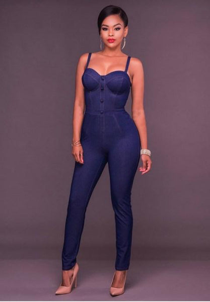 Denim Faux Button Front Fitted Jumpsuit.
