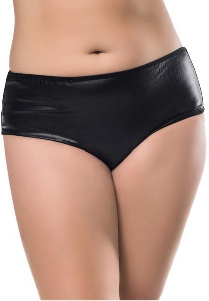 Plus Size Faux Leather Black Panty - Fashion Under Arrest