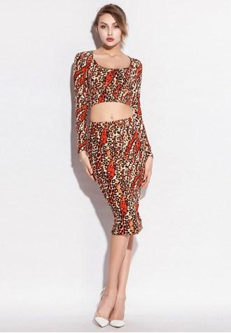 Orange Leopard Printed Bodycon Dress Set - Fashion Under Arrest