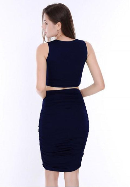 Sexy Sleeveless Pleats Two-piece Bodycon Dress