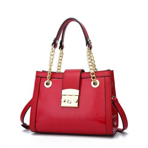Women's Metals Buckle PU Leather Tote Handbag.