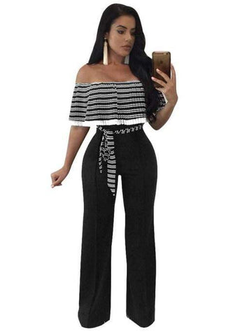 Ruffle Top Strapless Jumpsuit.