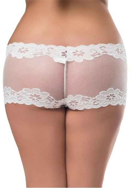 Plus Size Romantic Lace Black Hipster Panty.