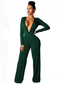 Sexy Fashion Casual Long Sleeve V-neck Jumpsuit - Fashion Under Arrest