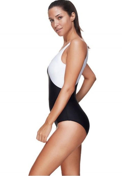 One-Piece Contrast Color Sexy Swimsuit