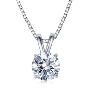 Solitaire Swarovski Elements Classical Princess Cut Necklace in 18K White Gold Plating.