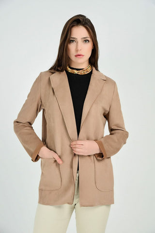 Women's Stitched Brown Suede Jacket