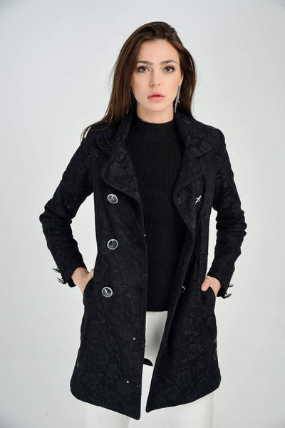 Women's Button Pocket Black Lace Coat