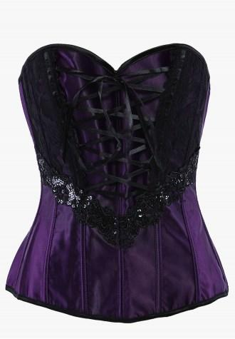Floral Embellished Satin Corset with Beautiful Lace Pattern.