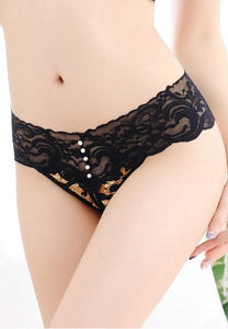 Women's Sexy Lace Leopard Straps Open Crotch G-String.