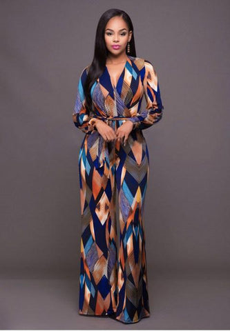 Multi Color Print Belted Jumpsuit.