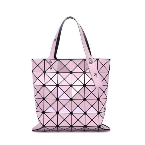 Women's PU Leather Geometric Diamond Split Joint Shoulder Bag Top Handle Bag.