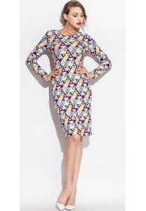 Colorful Triangle Pattern Print Stretch Club Dress