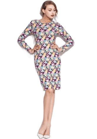 Colorful Triangle Pattern Print Stretch Club Dress.