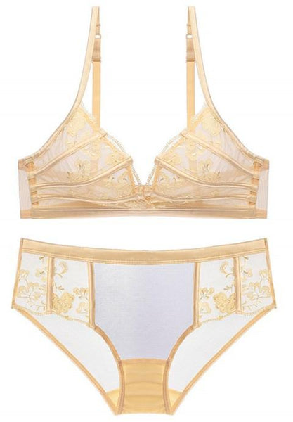 Sexy Wire Free Bra Transparent Lace Bra Set.