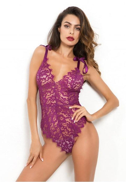 Sexy V-neck Sling Lace Teddy - Fashion Under Arrest