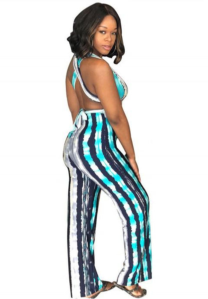 Sexy Stripes Jumpsuits Backless Sleeveless High Waist Wide Leg Long Pants - Fashion Under Arrest