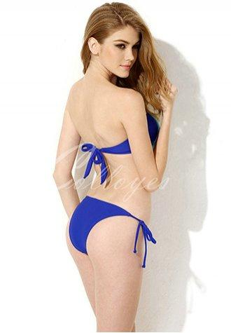 Sexy Royal Blue Bandeau Top Bikini Swimwear with A Playful Bow at the Center Front in Low Price.