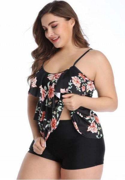 Plus Size ruffled Two Piece Swimsuit.