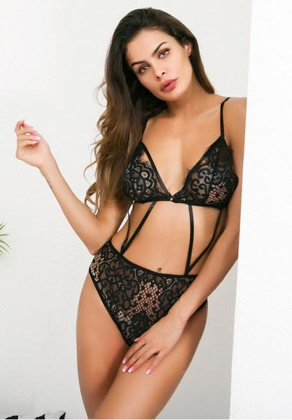 Sexy Sling Hollow Embroidery Lace Teddy - Fashion Under Arrest