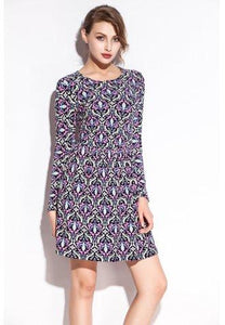 Colorful Bud Pattern Print Stretch Slim Club Dress - Fashion Under Arrest