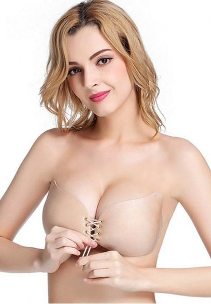Strapless Bra Sexy Backless Wing Shape Silicone Self Adhesive Push Up with Drawstring.