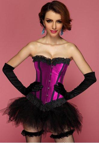 Contrasting Lines Satin Lace Corset Bustier with Pettiskirt in Blue and Purple.