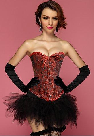 Red Black Geisha Goddess Burlesque Corset Bustier With Tutu Skirt.