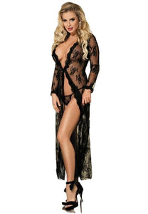Black Plus Size Delicate Lace Gown - Fashion Under Arrest