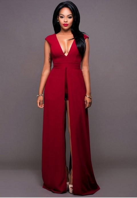 V Neck Backless Slit Sexy Maxi Dress - Fashion Under Arrest