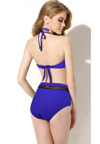 Sexy Royal Blue Bikini Swimwear with Bandeau Top and High-waist Bottom in Low Price.