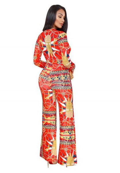 Printing Long Sleeve V-neck Wide Leg Jumpsuit Rompers