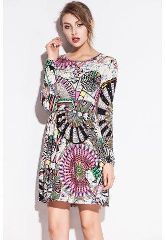 Digital Windmill Pattern Print Club Dress